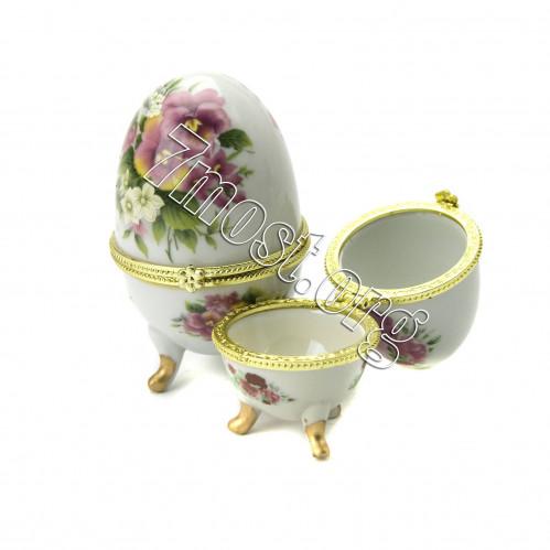 Шкатулка №В9246 яйцо сувен. для украшения (4,7*7,5)см 7рис в кор. керам. 3д (360)