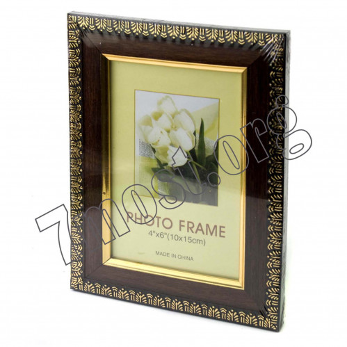 Рамки д/фото №235-5 пл. +стекло с подст. корич. цв зол оконтов. (9*13) (140)