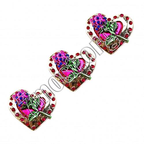 Магнит №МГ-6 д/холодильника керам. сердца с цвет. 25шт в кор. блест. (600)