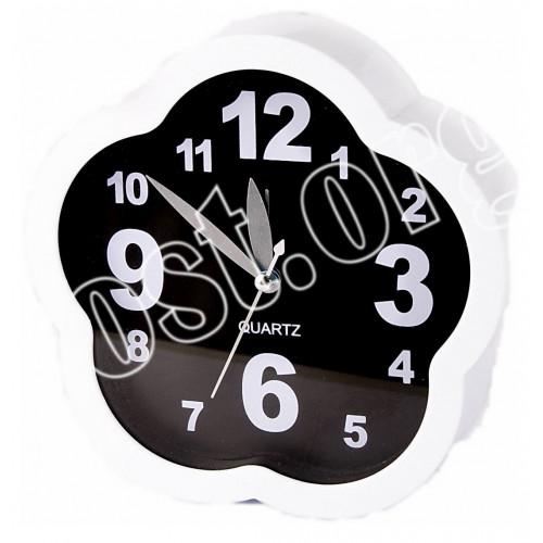 Будильник №К41 ромашки пл. чёр-бел цв (4*15,5)см 1R6 в кор. (60)
