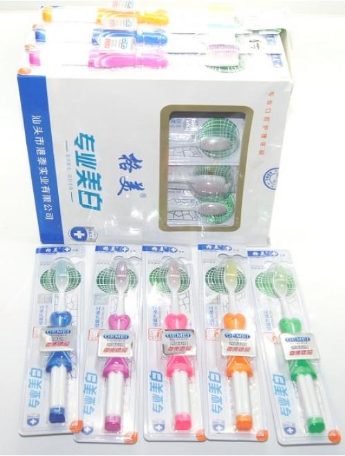 Зубная щётка №8004 (№8004-1) 30шт в подставке 5цв с жен. юбкой (300)