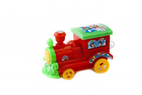 Игрушка поезд №YF510 пл. механ. с нит. и звуком в кл. 3цв (5,6*7,4*12,5)см (180)