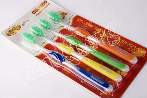 Зубная щётка №зщ-4-4 взрос. 4шт на листе зел. волос +4цв (200)