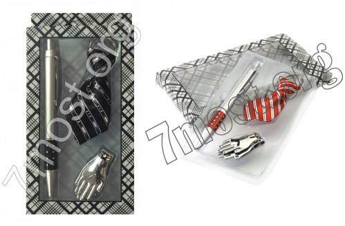Наб. подар. №ТР-01 3шт (ручка шар. +брел. +ногтер.) в прозр кор. 3цв (120)