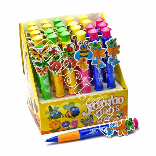 Ручка шариковая №1-3 толст. с игруш. (фрукт. +бабоч. +птица) 24шт в кор. син. стерж. (720)