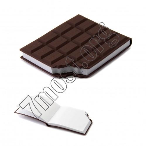 Тетрадь №602 бел. д/запис. 100стр (1,3*8,4*10)см с силик. шоколад. облож. с аром. (300)