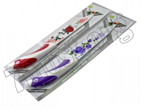Нож №033-1 кух. нерж. 4цв 4рис на листе в кор. с полос. пл. руч. 12шт в ср. пач. 7д (96)