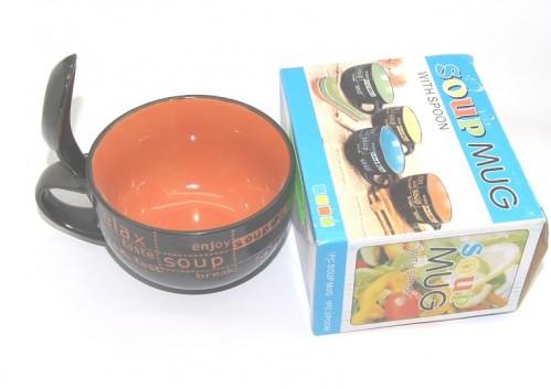 Чашка №S837 д/супа керам. с лож. 1руч 1рис цв 4цв 400мл (7*10,4*14)см в кор. (48)