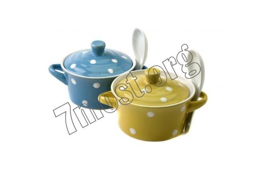 Чашка №S478-1 д/супа керам. с бел. лож. и крыш. в кор. 2ушка бел. серед. (6,2*12,8)см (48)