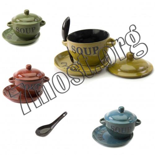 Чашка №S780 д/супа керам. лож. и цвет крыш и тарел. 4наб в кор 2уш чёр серед. (7,3*11,5) (36)