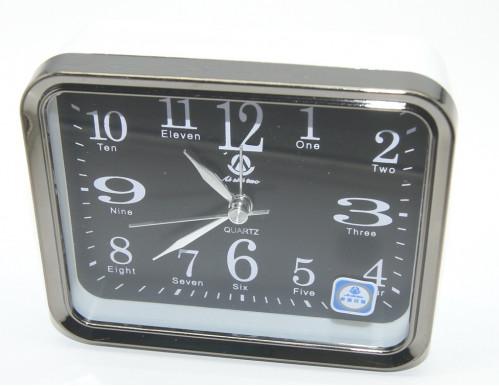 Будильник №AS0035 металопл. прямоуг. с чёр. экраном (4,2*9,4*11,2)см в кор. (100)