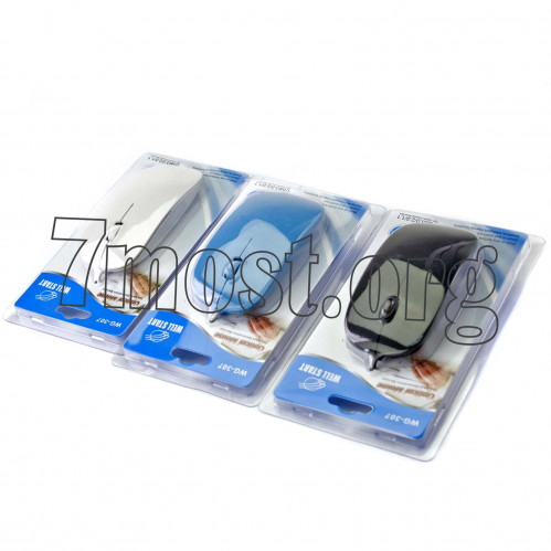 Мышка №WG-307 д/комп. со шнур.мал. на пл. листе 3цв (100)
