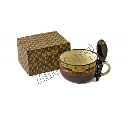 Чашка №S778 д/супа керам. с лож. 1руч. 3цв 1рис. лин. 400мл (7*11,5*15)см в кор. (48)