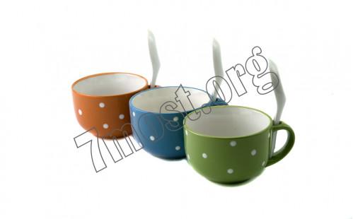 Чашка №S838 д/супа керам. с лож. 1руч 1рис горох 4цв 400мл (7*10,4*14)см в кор. (48)