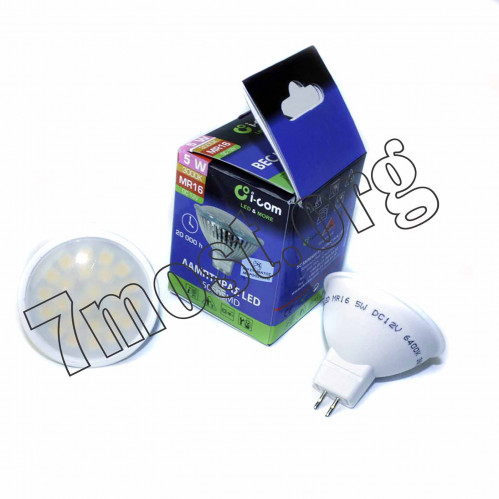 Лампа LED 5W MR16 24SMD 5050DC12V 3000K №77713442 (200)