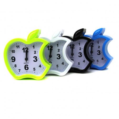 Будильник №LJX-2012 пл. яблоко 5цв с бел. доской (3,9*11,7*12,6)см (100)