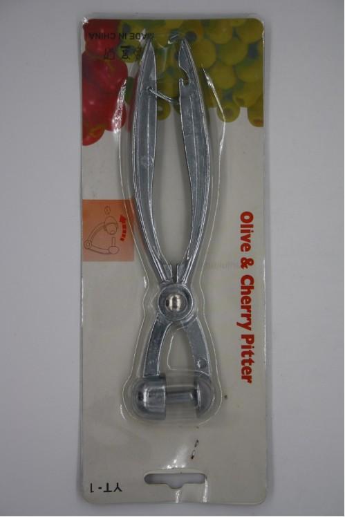 Косточкочистка №YT-1(№KAK-YT-1) д/фрукт. и овощ. мет. (4*18,5)см сереб. цв. на листе (144)