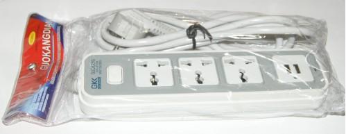 Удлинитель №GK-8194 пл. 2м с 3розет. с кноп. 2USB в кл. (60)
