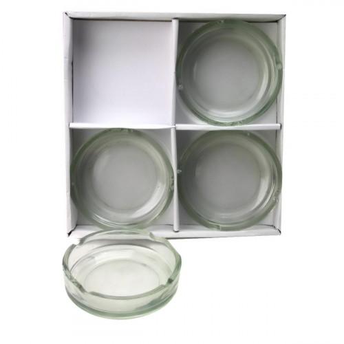 Пепельница №001-4 стекл. кругл. (2,3*10)см 4шт в бум. пач. (36)