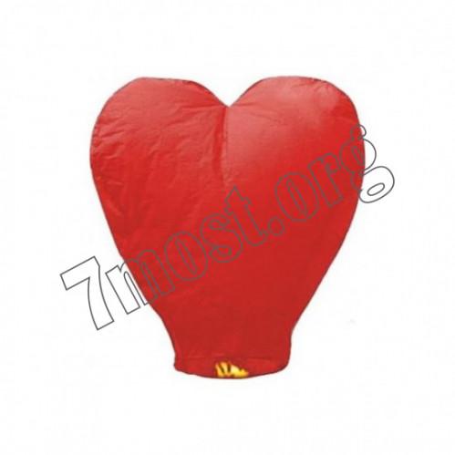 Неб. фонарик желания №Н-1 2цв (кр. +роз.) сердце (90*90)см в цв кл. (400)