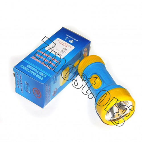Фонарик №5098А пл. 1(лампа +1R20) (5,3*11)см 3цв в бум. пач. 1шт (240)