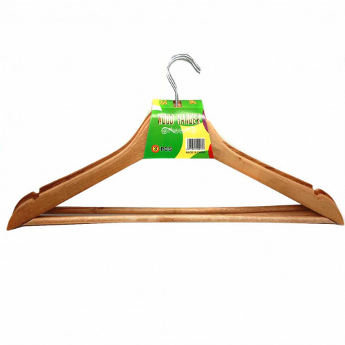 Вешалка №4522 (№вдм-45-22)для одежды дер.-мет. в бум. пач. 3шт (1,2*21,7*44,8)см (120)