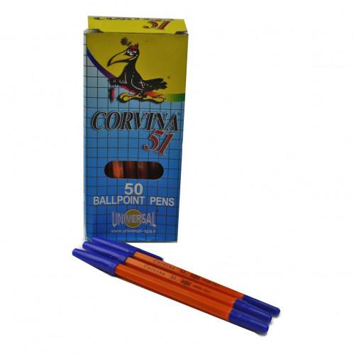 Ручка шариковая №51 KORVINA Corv. оранж. корп. син. стерж. 50шт в кор. (4000)