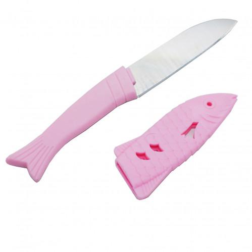 Нож №НТ-12 фрукт. с пл. чехлом форма рыба 3цв 24шт в кор. (576)