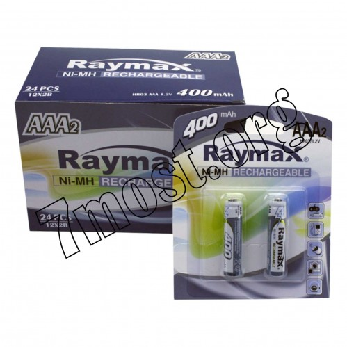 Аккумуляторы Raymax HR03 1.2V 400mAh Ni-MH AAA blister/2pcs (120/24)