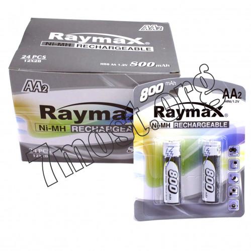 Аккумуляторы Raymax HR6 1.2V 800mAh Ni-MH AA blister/2pcs (120/24)