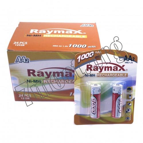 Аккумуляторы Raymax HR6 1.2V 1000mAh Ni-MH AA blister/2pcs (120/24)