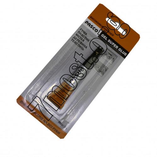 Клей PASCO №С-007-2 (№С-007-3G) (GEL super glue) 3gr. 1шт листе (576)
