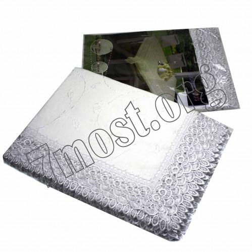 Скатерть №D10 синтетика Белые кружева (152*220)см (25)