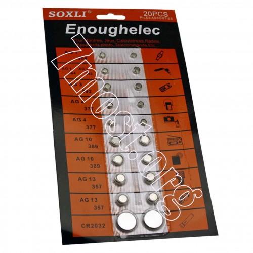 Батарейка Таблетка №20pcs-E литиев. 6видов 20шт на листе 50лист. в ср. кор. Enoughelec (240)