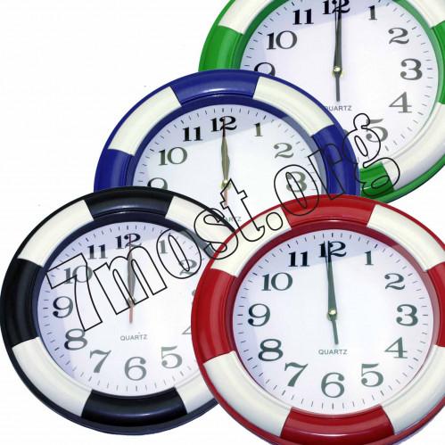 Часы №НА42 настен. пл. круг. (4,5*33*33) 5цв однот. полос. с бел. экр. 1R6 в бум. кор. (30)