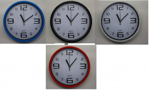 Часы №YP561 настен. пл. круг. (4,5*24,5*24,5) 4цв однот. с бел. экраном 1R6 в бум. кор. (30)