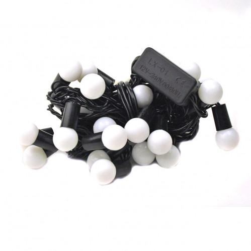 Гирлянда №F-28-Ш с фигур. шарики 28ламп чёр. шнур двухцвет. 5м в кл. 220v (150)