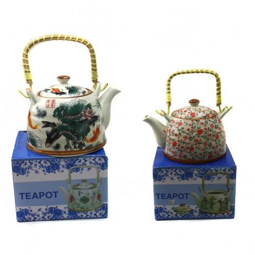 Чайник №К-3 керам. с рис. 4вида пл. руч. 0,4литра (60)