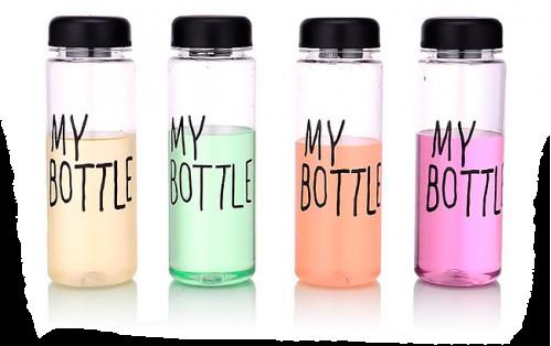Бутылка №500-1 (№SL360-1) MY BOTTLE прозрачная пл. 500мл для воды с цвет. крышой без чехла (100)