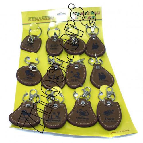 Брелок №ВК-3-1 для ключ. метал. +pvc кожзам. с знаком зодиака рис. на листе 12шт (2400)