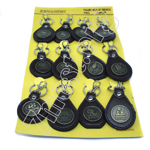 Брелок №ВК-3-2 для ключ. метал. +pvc кожзам. с знаком зодиака метал. фигур. на листе 12шт (2400)