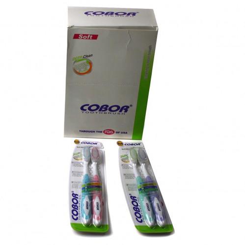 Зубная щётка №626-2 взр. нейл. +пл. 4цв мат. цена за 2штуки на листе в бум. кор. 12наб. (288)