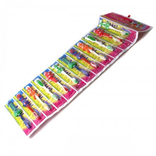 Зубная щётка №А-6А-12 пл. на листе дет. 6видов фигур. каждый вид по 2шт 6цв (1200)