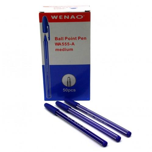 Ручка шариковая №ША555-А (А-555) син. стерж. полос. корп. (4000)