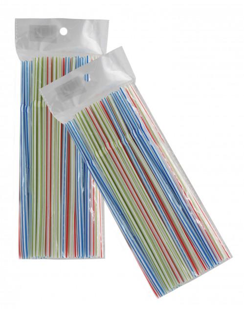 Трубка №6080 пл. РР 4цв полос. для питья жидкости (0,5*20,5)см с спир. в кл. 50шт в упаковке (200)