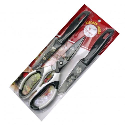 Ножницы №YU-17001-3 1шт +2ножа в наб. 3шт на листе металопл. 3цв (4,5-3,5)д с рис. Роза (120)