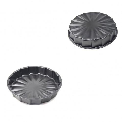 Форма №FM-15 метал. круг. сер. цв. для кекса (0,1*5*30*30)см в кл. (100)