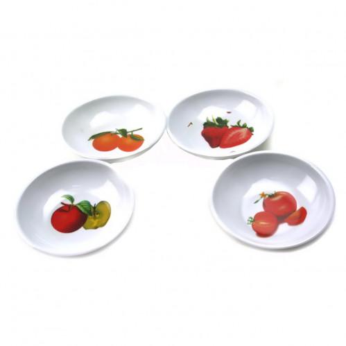 Тарелка №Т-3-4 мал. круг. бел. с рис. в упак. 4шт в кл. (9*9*2)см цена за упак. (250)