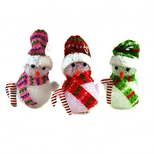 Ночник №ZXY-8 снеговик пл. 3бат. AG10 с палкой и шапкой бел. 3цв 1шт в кл. (15*8*8)см с код. (120)