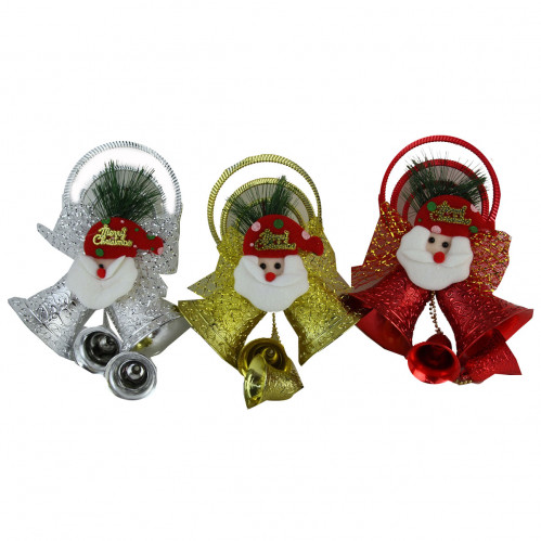 Колокольчики №ZY1701 3шт в наб. Merry Christmas и Дед Мороз 8*4,5см в кл. 120зол+60сер. (180)